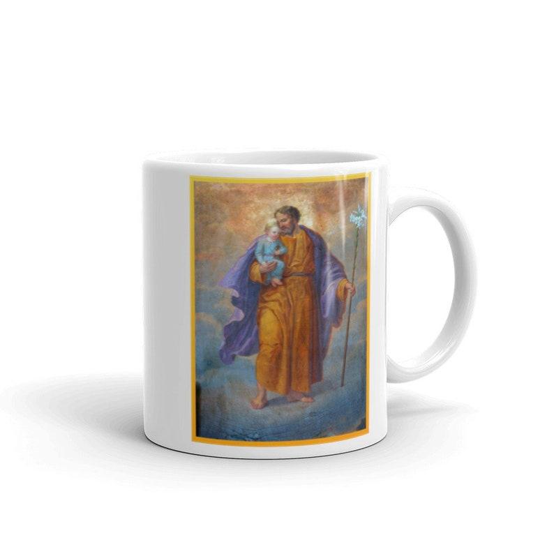 Saint Joseph Coffee Mug with Prayer   White glossy mug image 0