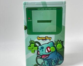 Nintendo DMG-01 GameBoy FunnyPlaying IPS Backlit Screen, Custom Bulbasaur Shell