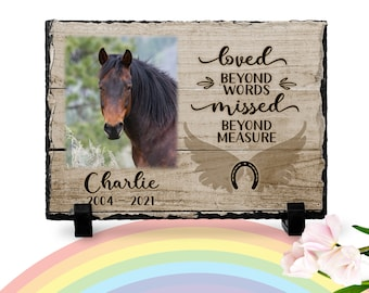 Horse Keepsakes | Horse memorial | Horse Loss Gift | Personalized Horse Photo Slate | Horse Memorial Plaque | Loved beyond words