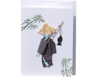 Greetings card Handmade – Gone fishing & Bamboo forest