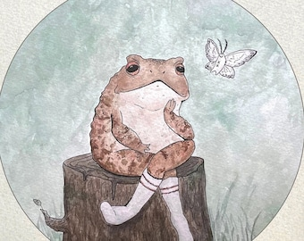 Mort the Toad Print - Toad and Moth Fine Art Giclée Print