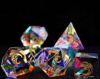 Dichroic Glass Polyhedral Dice, Polyhedral Dice,Dice Set,Sharp Dice,Sharp Edge Dice,Handmade Dice