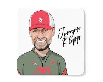 Jurgen Klopp Caricature LFC Coaster (White Background) | Liverpool FC | Premier League 2021