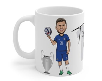 Timo Werner Caricature Mug (White Background) | Chelsea | Champions League | European Champion