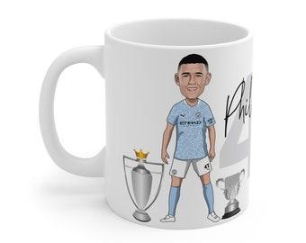 Phil Foden Caricature Mug (White Background) | Man City | Premier League | Champions 2021