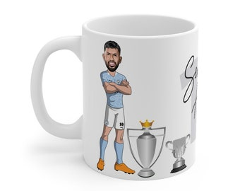 Sergio Agüero Caricature Mug (White Background) | Man City | Premier League | Champions 2021