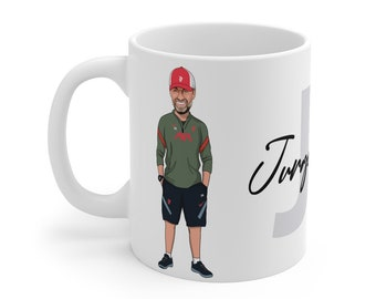 Jurgen Klopp LFC Caricature Mug (White Background) | Liverpool FC | Premier League 2021