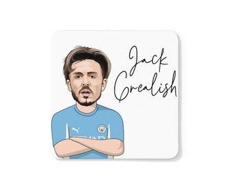 Jack Grealish Caricature Coaster (White Background) | Man City | Premier League 2021