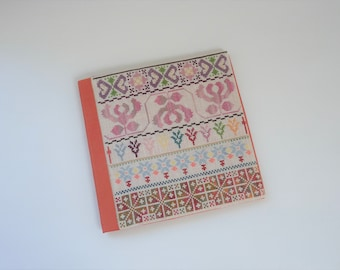 Book cover Borders, hand embroidered, unique book cover, book lover, gift, floral borders, cross stitch motifs, book protector