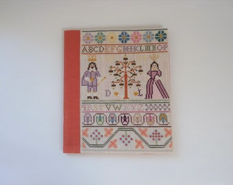 Book cover Tree of Life, hand embroidered, unique book cover, birthday gift, embroidered (flower) edges, cross stitch, alphabet, sampler