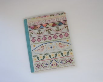 Book cover Angels, hand embroidered, unique book cover, book lover, gift, floral borders, cross stitch motifs, book protector, figures