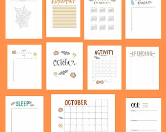 Colored October 2021 Digital-Made Downloadable Bullet Journal Pages