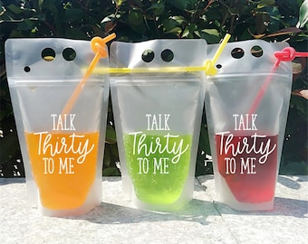 Talk 30 To Me, 30th Birthday, Drink Pouches, 30th Birthday Party Supplies, Dirty 30, Birthday Party Cups, Birthday Party