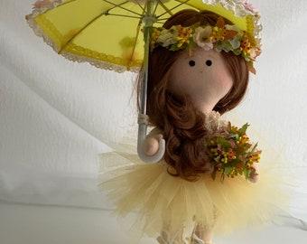 Interior Doll with Stylized Umbrella, Inner Doll, Tilda Art Doll with Umbrella, Textile Doll, Rag Doll, Handmade Doll