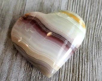 Pink Banded Calcite Palm Stones| Heart | Gemstone Healing | Imported from Pakistan