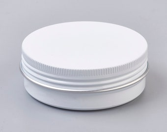 White Round Tin with screw top lid , for Candles, Salves 2oz 60ml