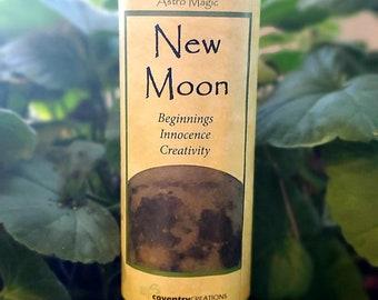 Astro Magic New Moon Pillar Candle | Ritual Blessings | Full Moon | Candle Magic