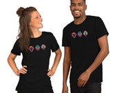 Savvy Sapien Monkey Team Trio - Short-Sleeve Unisex T-Shirt - Rainbow, Smiling Monkey, Laughing Monkey...Savvy?