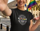 Savvy Sapien Pride Flag  Short-Sleeve Unisex T-Shirt - Rainbow, BIPOC, Happy Monkey, Smiling Monkey, Sunglasses, Rainbow, LGBTQIA