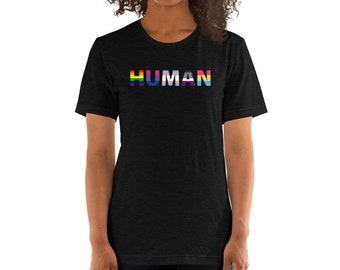 Pride Flags - We Are All Human - Short-Sleeve Unisex T-Shirt - Rainbow, Bi, Gay, Trans, Pan, Ace, LGBTQIA