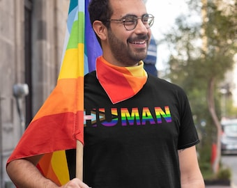 Pride Flag We Are All Human Short-Sleeve Unisex T-Shirt - Rainbow, BIPOC, LGBTQIA