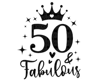 Fifty Birthday SVG, 50th Birthday svg, 50th Birthday, Birthday svg, Fifty svg, PNG, DXF, Cut File for Cricut, Silhouette, Glowforge, gift