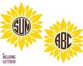 Sunflower Monogram SVG Bundle, Sunflower Svg, Circle Monogram Letters SVG, Monogram Frame Alphabet, Cut File for Cricut, Png, Dxf, Glowforge