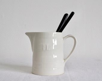 Small Vintage 1/2 liter off White Ironstone Milk Jug/  Creamer / white ceramic milk jug , Pitcher.
