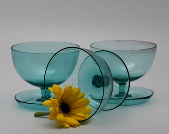 Retro Vintage Blue Glass Dessert cups with dish foot. Champagne Coupes. Set of 3