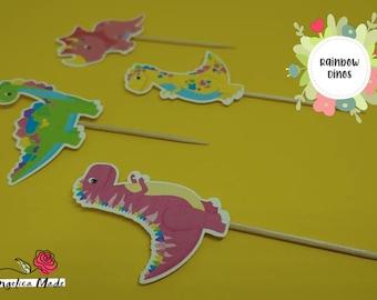 Rainbow Dino Picks