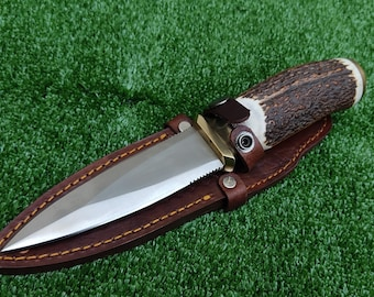 WOC Handmade D2 Steel Dagger Knife With REAL STAG Antler Vertical Belt Leather Sheath