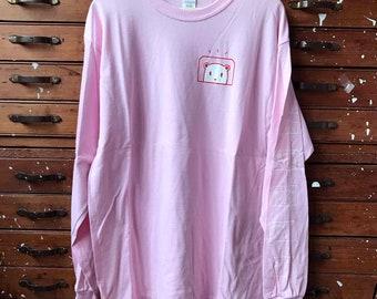 Screen-printed long sleeve bear T-shirt. Size Large
