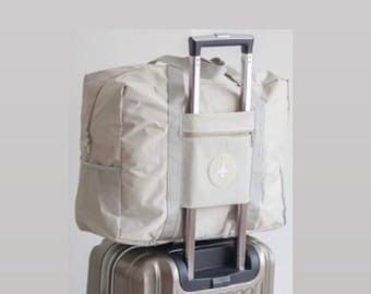 PERSONALIZED Beige Carry On Bag  Travel Bag/ Luggage  Travel Purse  Weekend Bag  Overnight Bag  Women & Men's Gym Bag  Mr / Mrs/ Unisex Bag