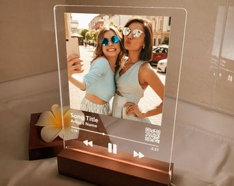 Custom LED music plaque, Music and song album cover plaque, Personalized glass art photo gifts, Best friend gifts