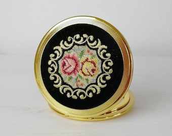 Brass pocket mirror Vintage embroidered mirror Petit point compact