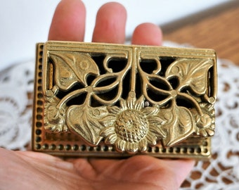Small brass trinket box with lid  Art nouveau pill case Vintage ring holder