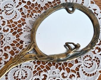 Brass handheld mirror Art nouveau hand mirror Vanity decor