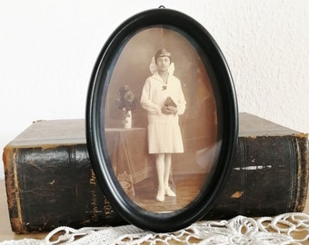 3 x 5 Vintage oval picture frame Small black wooden photo frame