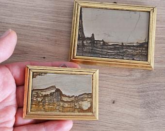 PAIR Miniature landscape picture Gem stone wall art Paesina limestone