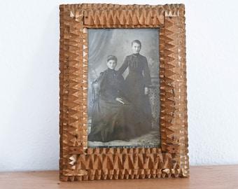 Carved wood picture frame Antique photo portrait framed