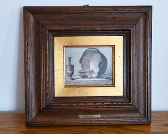 Replica painting in antique wood frame Antique still life oil painting print on canvas
