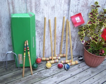 6 Player Forster Croquet Set Rainbow Mallets Wood Croquet Balls Carrying Box Lawn Game