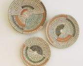 Set of 3 rattan wall basket decor, african woven basket set, bohemian wall decor, wall decor boho style