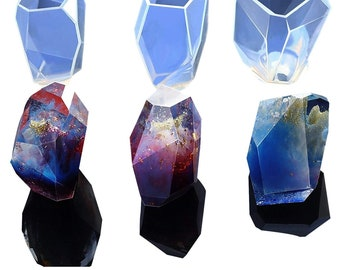 Gem Stone Crystal Mold Silicone Candle Molds 3 Shapes Large Size Resin Stone Mold