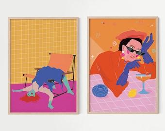 Boho Art Set, Set of 2 Prints, Woman Illustration, Woman Art Print, Art Poster, Illustration Print Set of 2, Home Decor, Wall Art Gallery