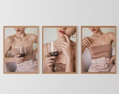 Wine Series Poster Fashion Print Aesthetics Outfit Model Beige Neutral Photography Wall Art Decor