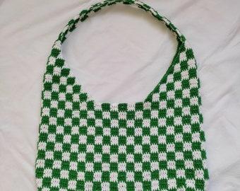 Handmade Checkered Chrochet Bag, Chrochet Shoulder Bag, y2k Cottegacore Style Bag, Checkered Chrochet Purse