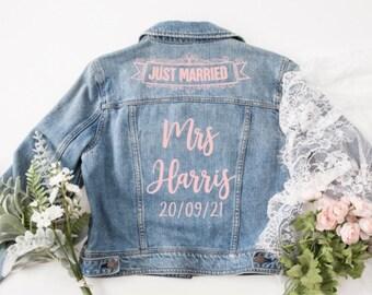 Personalised Denim 'just married' 'mrs' Bride denim jacket