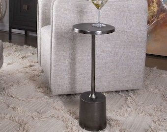 """Minimalist In Style 25"""" Drink End Table hand poured aluminum"""