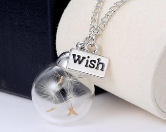 Dandelion Necklace, silver wish charm, flower seed & glass orb gift to nourish and heal, daughters gift, mom birthday, grad gift, Christmas
